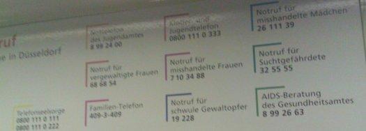 Liste der Notfallnummern in Düsseldorf