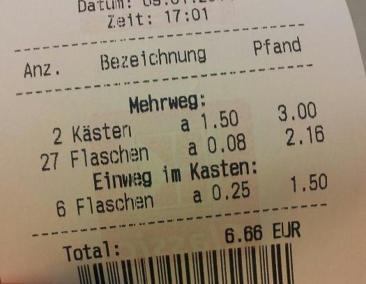 6,66 € als Pfandbetrag - das könnte man gutes Timing nennen - sozusagen ein Höllenpfand.