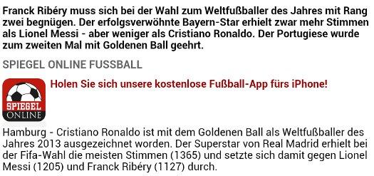 Welchen Rang Herr Ribery bei der Wahl zum Weltfußballer erlangt hat, bleibt ungeklärt.