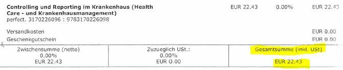 22,43€ + 0€ Steuern = 22,43€